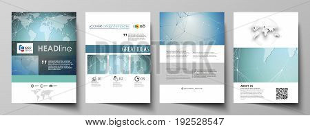 The vector illustration of the editable layout of A4 format covers design templates for brochure, magazine, flyer, booklet, report. Chemistry pattern, connecting lines and dots. Medical concept