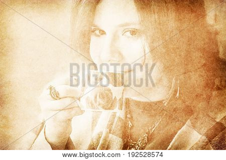old vintage paper texture with portrait of a young beautiful girl with cup of coffee