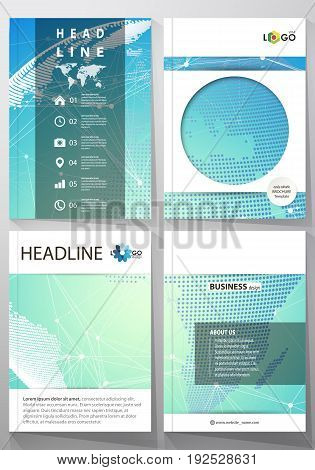The vector illustration of the editable layout of four A4 format covers with the circle design templates for brochure, magazine, flyer. Chemistry pattern, molecule structure, geometric design background.