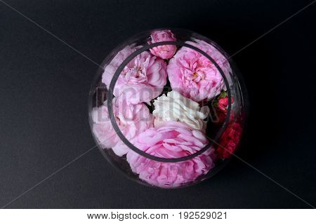 Roses on a glass vase, on a black background. Low key background
