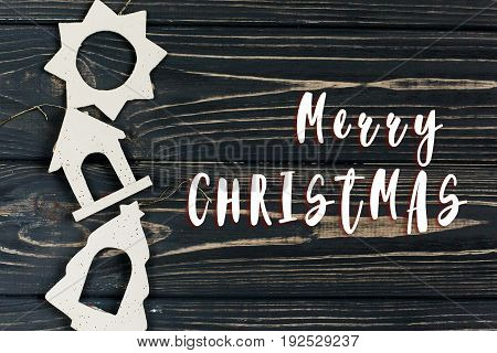 Merry Christmas Text Sign On Simple Christmas Eco Toys On Stylish Black Wooden Background In Border
