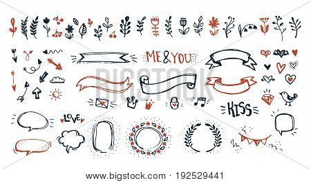 Hand drawn doodle cute design elements set. Sketchy romantic decoration objects vector collection