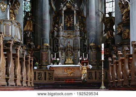 MAINZ, GERMANY - JUNE 08: The pompous altar of the St. Stephan church with gold-decorated sacred art on June 08, 2017 in Mainz.
