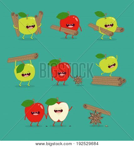 flat cute and funny green apple fruit set in various emotion and face in blue background for kids children company business and organization