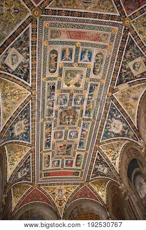 Italy Siena - December 26 2016: the view of the ceiling frescoes in biblioteca Piccolomini on December 26 2016 in Siena Tuscany Italy.