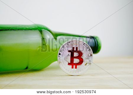 Bitcoin - Silver And Red Coin