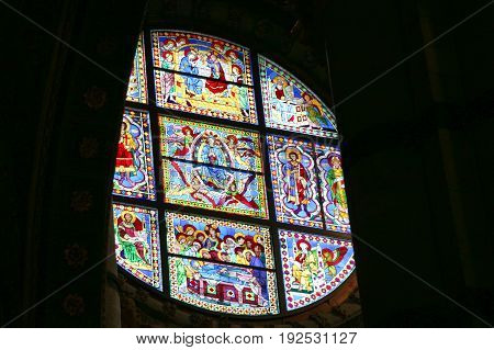 Italy Siena - December 26 2016: interior view of Metropolitan Cathedral of Santa Maria Assunta. Stained glass window of the Duomo di Siena on December 26 2016 in Siena Tuscany Italy.