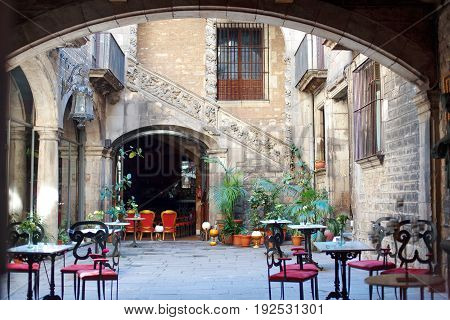 Barcelona Spain Europe - characteristic courtyard in Barri Gotic district