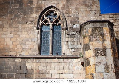 Barcelona Spain Old town Barri Gotic district - facade of an ancient gothic building