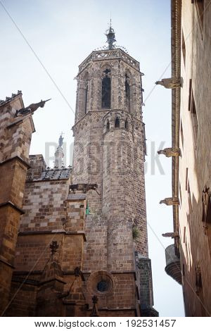 Barcelona Spain Old town Barri Gotic district - characteristic ancient gothic building