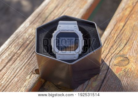 shock protected electronic watch with original package.