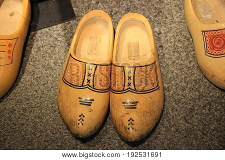 Old worn clogs the traditional Dutch wooden shoes
