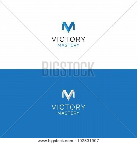 Abstract V and M letters minimalistic logo in roman style