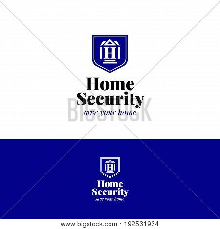House security logo. Home insurance vector symbol with house, H letter and shield.