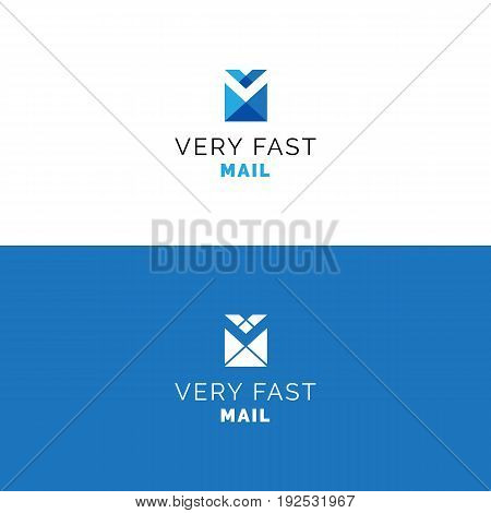 Abstract V letter envelope logo. Mail minimalistic vector symbol