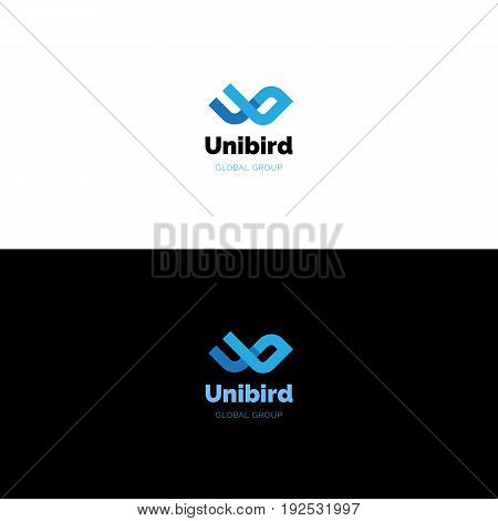 Creative U and b letters logo in shape of abstract minimalistic bird or wings. Bold abstract letters logotype