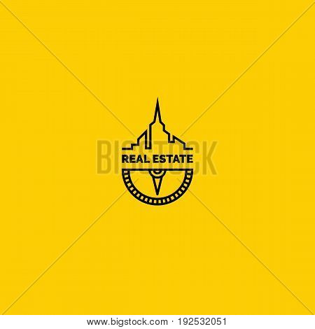 Real estate logo. Creative vector sign with city skyline and compass
