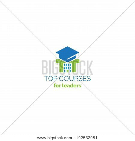 Education courses creative logo consist of university hat, pi symbol and school building in the negative space. Online classes vector sign