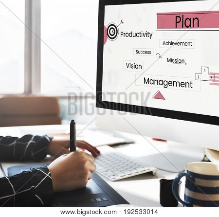 Business diagram on a laptop screen