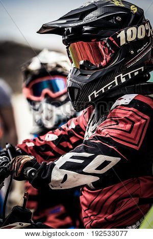 May 21, 2017 at San Miguel, Tenerife, Canary Islands, Spain. Unknown rider before the start in Motocross Tenerife Championship