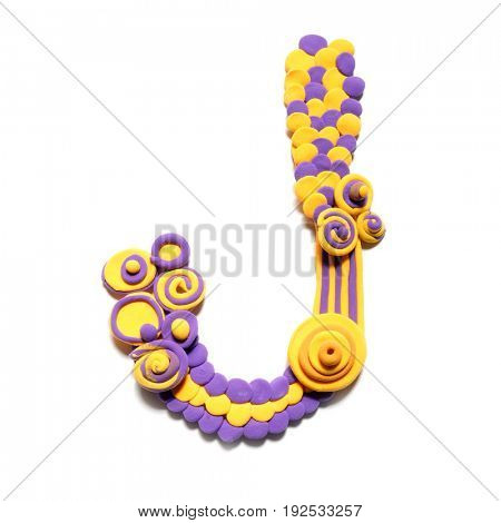 Plasticine letter J . Color plasticine alphabet, isolated.