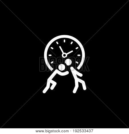 Time for Action Icon. Simple Flat Design. Business Concept. Isolated Illustration with two silhouettes and clock