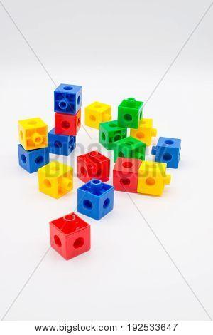 Colorful Plastic Blocks isolated on white background