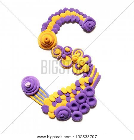 Plasticine letter S . Color plasticine alphabet, isolated.