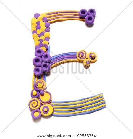 Plasticine letter E . Color plasticine alphabet, isolated.