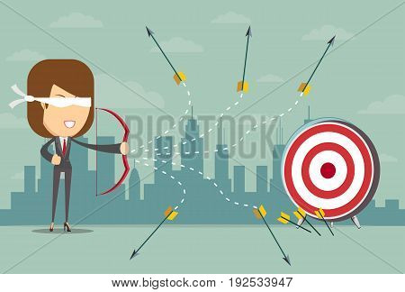 Blindfold businesswoman with bow and arrow Wants to hit the target . Business concept. Stock vector illustration for poster, greeting card, website, ad, business presentation, advertisement design.
