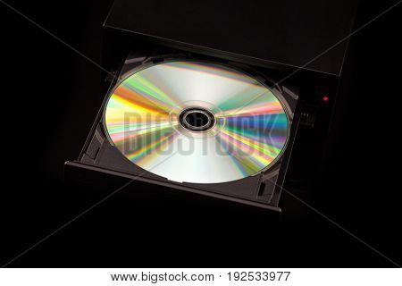 Dvd / Cd Burner On Black Background