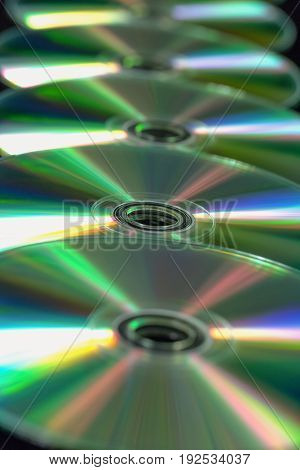 Several Cd / Dvd In A Straight Line