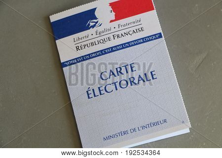 PRIMELIN, FRANCE - APRIL 05 : French electoral card, April 05, 2017