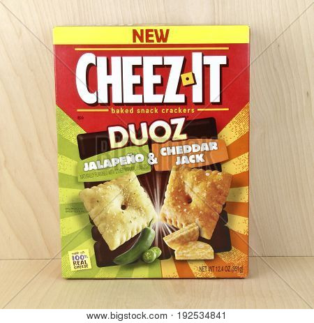 Spencer Wisconsin June 24 2017 Box of Cheese It Duoz Crackers Cheese It is made in America and was first introduced in 1921