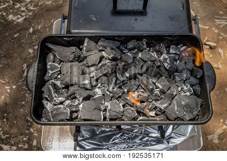 Coals Are Burned In A Bbq Grill