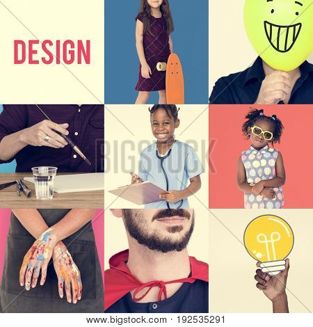Set of Diverse People with Design Ideas Word Studio Collage