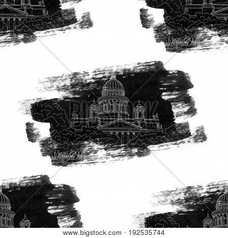 St. Isaac's Cathedral sketching grunge seamless pattern on white background. Saint Petersburg, Russia. Vector illustration for your design