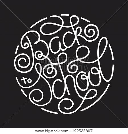 Back to school lettering on chalkboard background. Vector illustration for your design