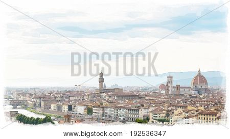 Watercolor painting style of Aerial view of Florence. With Florence Duomo Cathedral. Basilica di Santa Maria del Fiore or Basilica of Saint Mary of the Flower in sunset.