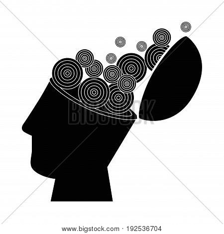 human head and circular shapes icon over white background vector illustration