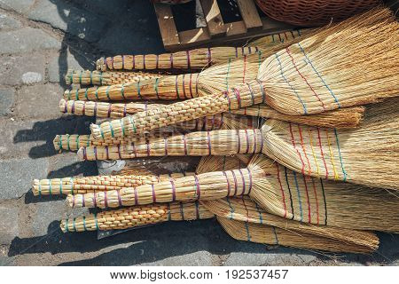 Bac Ha Market on every Sunday morning. Brooms on sale in the market.