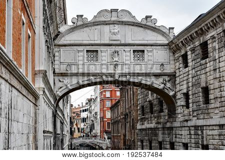 Bridge of Sighs over the canal in Venice