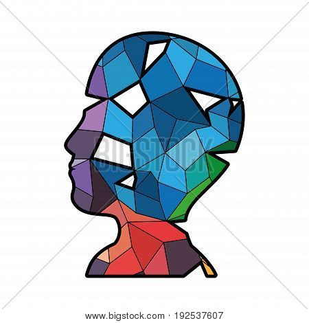 colorful head with abstract shapes icon over white background vector illustration