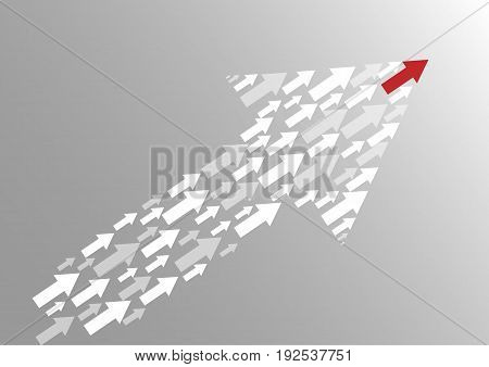 Leadership concept with red arrow leading among white