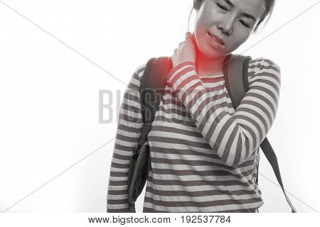 young asian woman touching and having neck pain on isolated white background.
