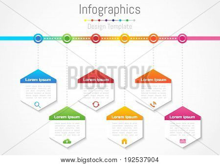 Infographic design elements for your business with 6 options parts steps or processes Vector Illustration.