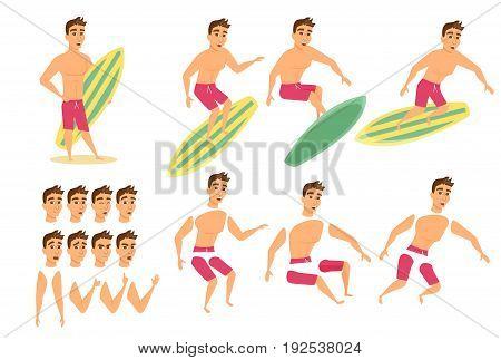 Surfer man character animation, creation set. Guy in shorts stand on beach with surfboard and ride. Summer male vector. Parts of body for design you scene. Cartoon faces, emotions, expressions
