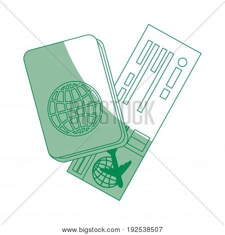 airplane ticket and passport icon over white background vector illustration