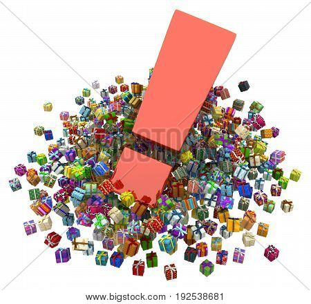 Gift large group 3d illustration big exclamation mark horizontal over white