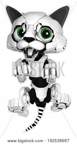 Robotic kitten lying on back playful 3d illustration vertical isolated